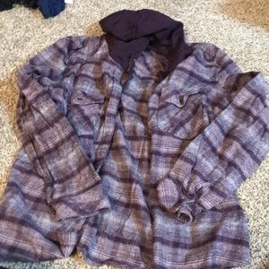 Women's purple Columbia hooded flannel